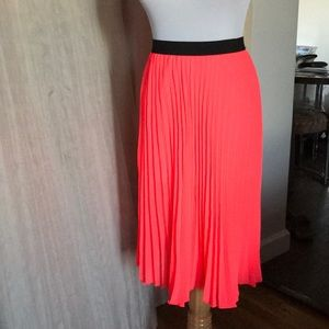 NWOT Hot Pink Chiffon Pleated Skirt